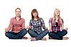 ID 3335174 | 연꽃 자세에 앉아 세 여자 | 높은 해상도 사진 | CLIPARTO
