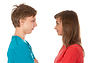 Photo 300 DPI: pair of teenagers looked at each other