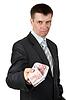 Foto 300 DPI: Geschäftsmann gibt beiläufig EUR