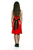 Photo 300 DPI: Woman in red dress is back on white background