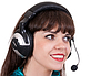 Portrait of girl with headphones with microphone | Stock Foto