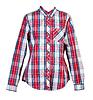 빨간 격자 무늬의 셔츠 여자   Stock Foto