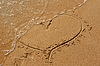 Photo 300 DPI: heart drawn in sand