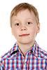 격자 무늬의 셔츠에있는 소년의 초상화   Stock Foto