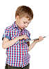 Photo 300 DPI: boy in plaid shirt with tablet computer