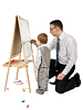 Photo 300 DPI: Businessman teaches his son to paint on an easel