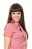 빨간 격자 무늬의 셔츠에 아름 다운 젊은 여자   Stock Foto