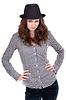 격자 무늬 셔츠와 검은 모자에 소녀   Stock Foto