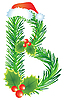 Vector clipart: Christmas letter B made of fir branches