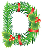 Vector clipart: Christmas letter D made of fir branches