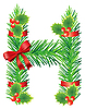 Vector clipart: Christmas letter H made of fir branches