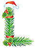 Vector clipart: Christmas letter L made of fir branches