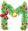 Vector clipart: Christmas letter M made of fir branches