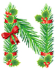 Vector clipart: Christmas letter N made of fir branches