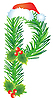 Vector clipart: Christmas letter P made of fir branches