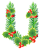 Vector clipart: Christmas letter U made of fir branches