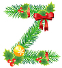Vector clipart: Christmas letter Z made of fir branches