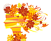 Vector clipart: Woman with autumn leaves