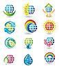 Векторный клипарт: Набор иконок глобусы