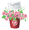 Vector clipart: Flowerpot with roses