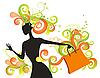 Векторный клипарт: Причудливая девушка с покупками