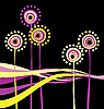 Vector clipart: Abstract flowers on the black background