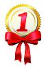 Vector clipart: Gold award with bow