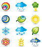 Vector clipart: Set of icons. Nature and weather