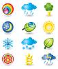 Векторный клипарт: Набор иконок. Природа и погода