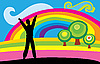 Векторный клипарт: Человек и радуга