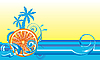 Vector clipart: Swirling wave design with orange