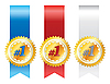 Vector clipart: Gold awards with ribbons