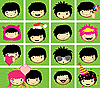 Vector clipart: Expressions of boy`s face