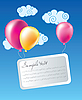Vector clipart: Air balloons with card