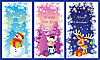 Vector clipart: Three Christmas cards with snowman, bull and deer