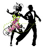 Silhouette of dancing couple | Stock Vector Graphics