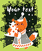 Vector clipart: Christmas card with fox