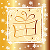 Vector clipart: Christmas card with gify box