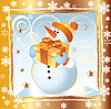 Vector clipart: Christmas card with Snowman