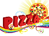 Vector clipart: Pizza and rainbow