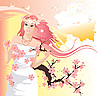 Vector clipart: Beautiful woman with flowering tree