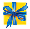 Vector clipart: yellow gift box with blue ribbon