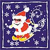 Vector clipart: Christmas card with Santa Claus