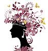 Векторный клипарт: Женщина с цветами
