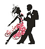 Vector clipart: Silhouette of dancing couple