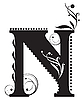 Vector clipart: Initial letter N