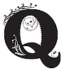Vector clipart: Initial letter Q