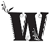 Vector clipart: Initial letter W