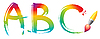Vector clipart: Set of rainbow letters ABC