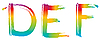 Vector clipart: Set of rainbow letters DEF